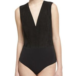 ALICE + OLIVIA Wanda Black Genuine Suede bodysuit